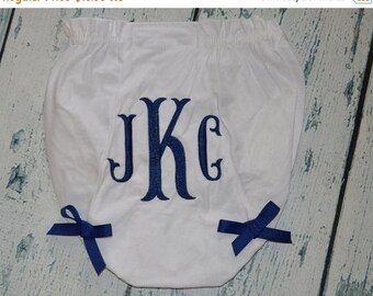 ON SALE Personalized  Baby Bloomers, Monogram Diaper Cover with Bows