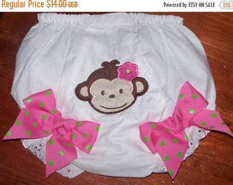 ON SALE Custom Monkey Bloomers Diaper Cover Personalized Monogrammed