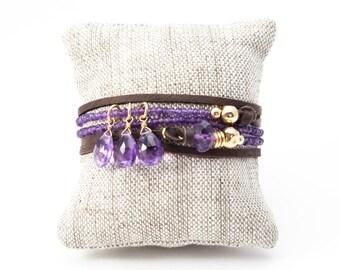 Amethyst Necklace, Amethyst Wrap Bracelet, Adjustable Necklace, Purple Necklace, Purple Bracelet, Leather Wrap Bracelet, Gold Amethyst Wrap