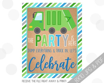 Garbage Truck Party Printable Sign | Truck Welcome Sign | Truck Door Sign | Garbage Truck Welcome | Garbage Party | Garbage Truck Party