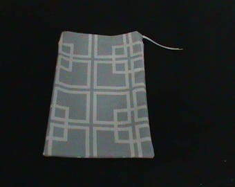 Large Duck Cloth Drawstring Pouch or DVD Gift Bag Silver With White Square Pattern