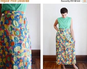 Summer Sale - 1960s Sunflower Midi Skirt - S/M