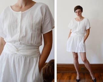 1980s White Gauze Cotton Romper - L