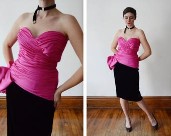1980s Victor Costa Black velvet and Hot Pink Cocktail Dress - S/M