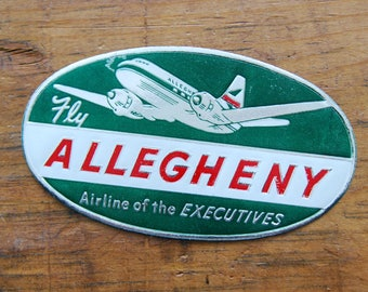 Vintage Fly Allegheny Airline of the Executives Travel Decal Gummed Sticker