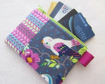 LAST ONE Gigi Blooms Hello Birdie Fabric Business Card Case Coin Purse Zipper Credit Card Case Card Holder Wallet Bird Floral Gray Purple
