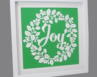 JOY - holiday PAPER CUTTING - handmade art, Christmas, Paper cut art, wreath, unique wall art, framed paper cut, white paper, holly,December