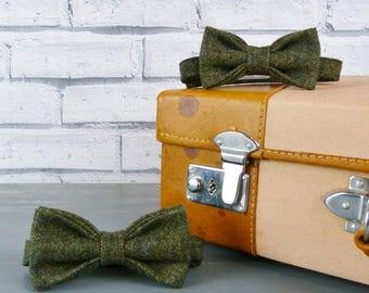 Father and Son Bow Tie Set - Dark Green Birdseye Yorkshire Tweed
