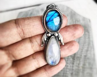 Rainbow Moonstone Necklace,  Labradorite Necklace, Sterling Silver Necklace, Blue Necklace, Blue Flash Labradorite Pendant, Gift For Women