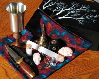 Hand Painted Box~Altar Kit~Travel Altar~Hand Made Altar Cloth~Ritual Supplies