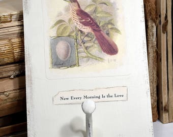 Bird Collage with Hook * OOAK * art * wall decor * paper collage * nature