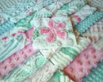 Vintage Chenille Bedspread Squares in Aqua and Pink with Flower-Sweet-42-6""