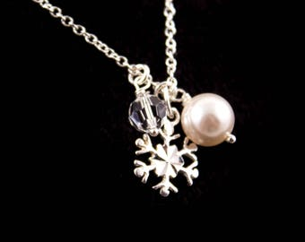 Bridesmaid Jewelry Winter Wedding Sterling Silver Snowflake Necklace