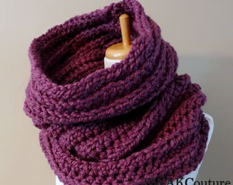 Chunky Cowl, Hooded Cowl, Womens Scarf, Gift for Her, Unisex Scarf, Noni Wool Cowl, Knit Snood Scarf - Fig or Choose Your Color