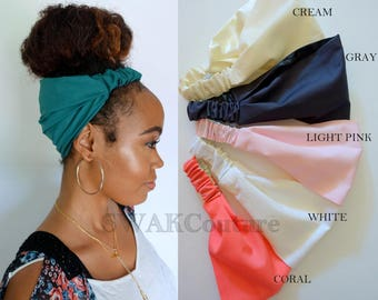 Satin Lined Narrow Headband, Solid Color Pineapple Bun Wrap, Women Head Wrap, Yoga Fitness Protective style head scarf - Choose Your Color