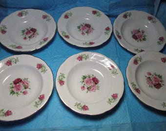 6 Bowls by Formalities BAUM BROS China MARIA Pattern Pink Red Roses Gold Trim Soup and or Cereal Bowls dinnerware dinner accessories