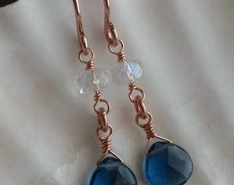 Dark sapphire blue quartz and blue flash moonstone wire wrapped briolette drop earrings - 14k rose gold filled handmade gemstone jewelry