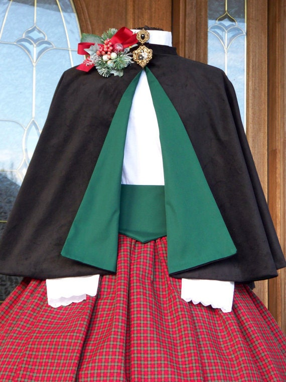 Victorian Dickens Christmas Carolers Holiday Dress Costume, Six Peice Set, Skirt, Cape, Blouse, Sash, Hoop,Bonnet, made to your measurements