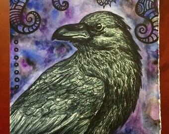 "Original Art - ""Poe"" Raven Mixed Media Watercolor and Ink Panting / Illustration"
