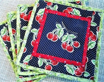 New! Set of Two (2)  Sweet Cherries Cotton Fabric Quilted Potholder, Kitchen Gift