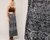 Batik Skirt XXL Elephant Print Indian WRAP Skirt 90s Midi Cotton Boho Black Vintage Hippie Festival High Waisted Bohemian Small Medium Large
