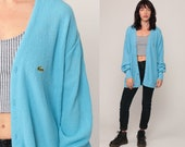 Lacoste Cardigan Sweater 80s Baby Blue Button Up IZOD Crocodile Grandpa Slouchy Vintage 1980s Preppy Hipster Oversize Retro Extra Large xl