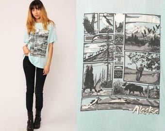 Alaska Shirt 80s Animal TShirt Burnout Tee Bear Moose Eagle Vintage Retro Graphic T Shirt Screen Print Hipster Baby Blue Large