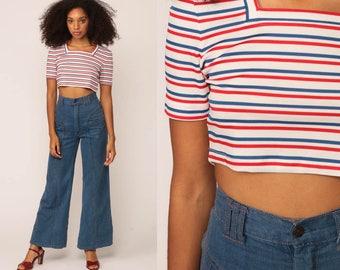Striped Shirt 70s Crop Top Retro Tee Nautical Red White Blue Short Sleeve Crop Top Sailor Vintage 80s Small Medium