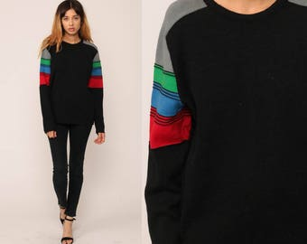 Striped Sweater 80s WOOL Sweater Black Knit Red Blue Grunge Oversized Slouch Hipster 1980s Jumper Vintage Pullover Retro Medium Large
