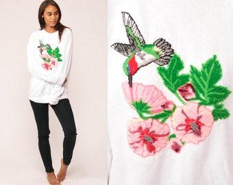 Bird Sweatshirt FUZZY HUMMINGBIRD 80s Animal Sweatshirt Vintage Shirt Slouchy Print Floral Grunge Pullover 1980s Oversized Extra Large xl