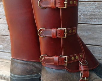 Swiss Military Style Gaiters or Spats in Glossy Cherry Leather w Antiqued Brass Hardware