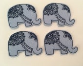 Elephant Feltie Set of 4 - Animal Feltie - Jungle Feltie - elephant Lover Feltie