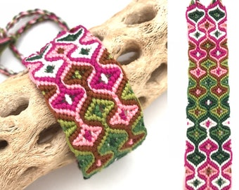 Friendship bracelet - cuff - wide - sleeping tikis - embroidery floss - handmade - knotted - woven - double - string - thread - pink - green