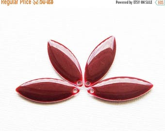 20% OFF Metal & Epoxy Solid Marquise Drops - Silver Plated Burgundy (4 drops) - spa369