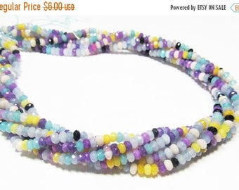 """20% OFF 7"""" Gemstone STRAND - Jade Beads - 3x4mm Faceted Rondelles - Purple, Aqua, Yellow, Periwinkle, White, Black (7"""" strand - 65 beads) -"""