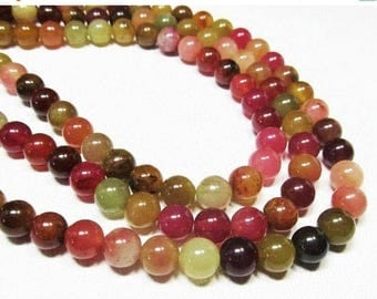 """20% OFF 7"""" Gemstone STRAND - Jade Beads - 8mm Smooth Rounds - Multi Color - Pink, Peach, Olive Green (7"""" strand - 22 beads) - str470"""