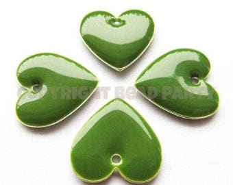 20% OFF Metal & Epoxy Heart Drops - Silver Plated Nephrite Green (4 drops) - spa482