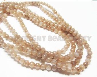 "20% OFF 7"" Gemstone STRAND - Jade Beads - 4mm Smooth Rounds - Khaki Brown (7"" strand - 42 beads) - str901"