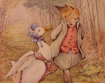 Beatrix Potter Illustration - Jemima Puddle-Duck - Animal Print - Giclee Color print - Friendship duck and fox