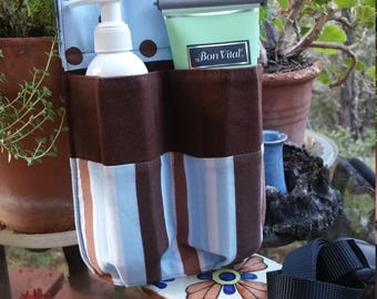 Massage therapy double lotion bottle/cream tube hip holster, upcycled, black belt