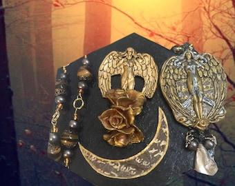 Goddess Lilith/Mystical Altar Set/Gothic/Necklace/Rosary/Pendulum/Chain/Scrying Mirror/Victorian/SpellBoundGems(tm)/ EnergyWork/ShadowBox