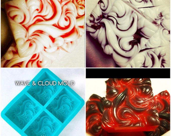 4 WAVE, CLOUD & Smoke Mold Set, 3.5 oz cavities, Silicone, Ocean, Wind, Smoke, Water, TWH Exclusive (16 cavities total)
