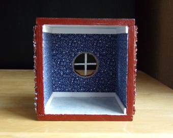 Artist Made 1:48 Quarter Scale Roombox Brick Faced Blue Room