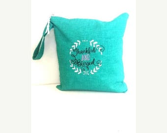 On Sale Turquoise Wet Bag, Embroidered wet bag, cloth diaper wet bag,  swimsuit bag, hanging wet bag, wet bathing suit bag, cloth diaper bag