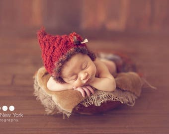Mohair Newborn Pixie READY Ship Photo Prop Baby Girl Hat Going Home Cap Boy Knitted Fall Photography Coming Hand Knit Wool Bonnet Maroon