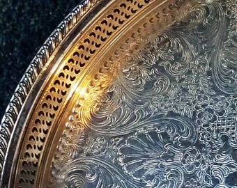 Vintage Silver Metal Serving Tray Round Etched Floral Pierced Rim William Rogers No. 623 Plated Gadrooned Edge 1960s