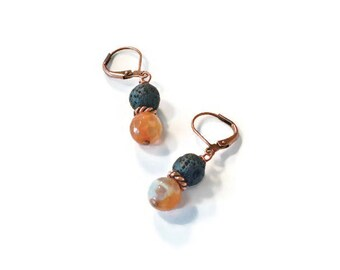 Essential Oils Diffusing Earrings, Orange/Cream Onyx and Natural Lava Rock Stones, Aromatherapy Jewelry