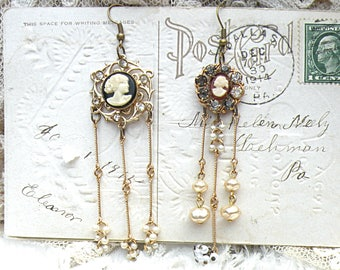 tassel cameo earrings assemblage mismatched dangles airy fairy goddess woman upcycled vintage jewelry