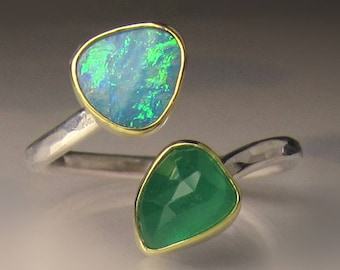 Boulder Opal and Emerald Ring, 18k Gold and Sterling Silver, Open Bypass Ring - sz  5 1/2 to 6