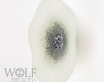 MADE TO ORDER Blown Glass Wall Art White Smoke Grey Poppy Wall Hanging Decorative Art Glass Sculpture